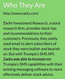 zacks investment uses trumpias sms api